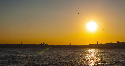 Istanbul. Uskudar view at sunset in Turkey Live Action