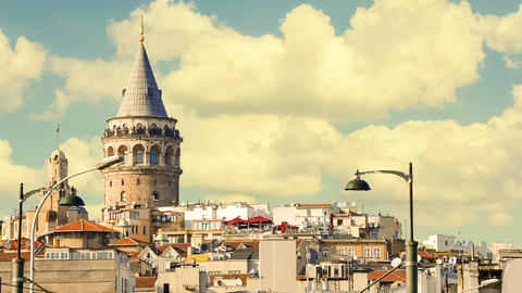Cinemagraph - Beyoglu district historic architecture and Galata tower medieval Live Action