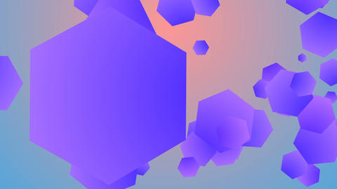 Colorful background from flying hexagons Animation