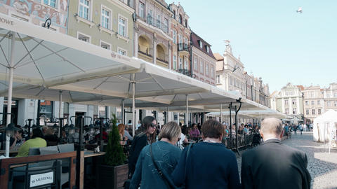 POZNAN, POLAND - MAY 20, 2018. Street cafes and restaurants in city centre Footage