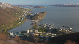 Spring top view of Petropavlovsk Kamchatsky City, Avacha Bay and Pacific Ocean Footage