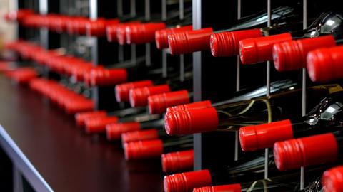 Rows of wine bottles in wine racks, close up handheld panning Footage
