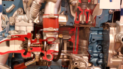 Car engine pistons and valves work Footage