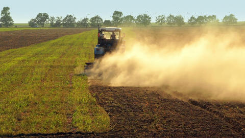 Tractor Plowing a Field Footage