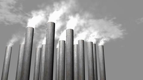 Factory smoke stacks, chemical release Videos animados