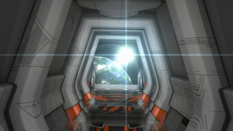Spaceship corridor scene Videos animados