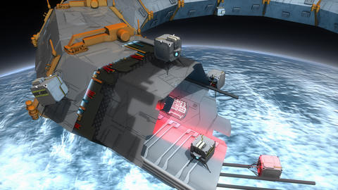 Artist concept, space construction bots, space 3d print Animation