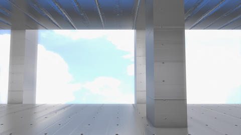 Concrete building, camera dolly movement Animation