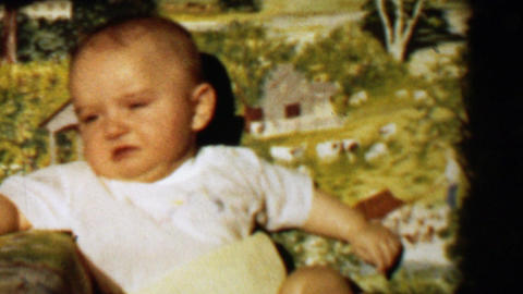 1957: Baby boy upset first crying angry upset pouty face Footage