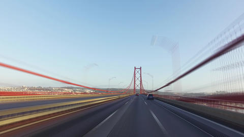 Speedy Driving On A 25 De Abril Bridge In Lisbon stock footage