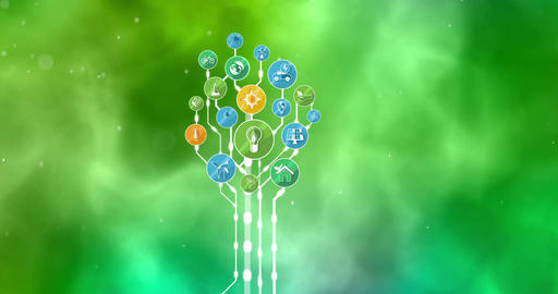 Ecological Icons Tree. Environment, Green Planet. 4K stock footage