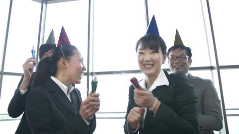 Small Start Up Team Celebrates A Birthday At The Office 1080 stock footage