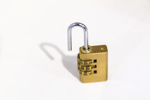 brass combination padlock Photo