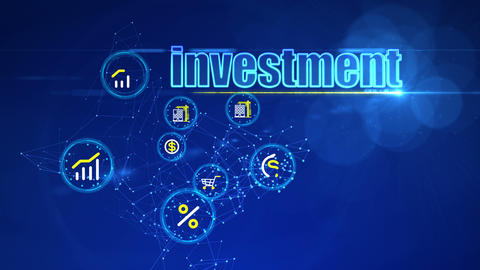 Abstract Investment Background with PC Icons Animation