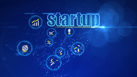 Investment Backdrop with Startup Icons Animation