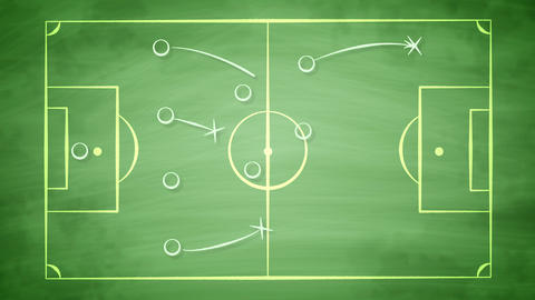 Football field scheme with crosses and passes Animation