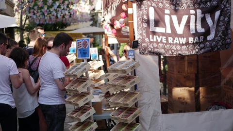 Raw bar tent on street festival - natural vegan healthy food for sale Footage