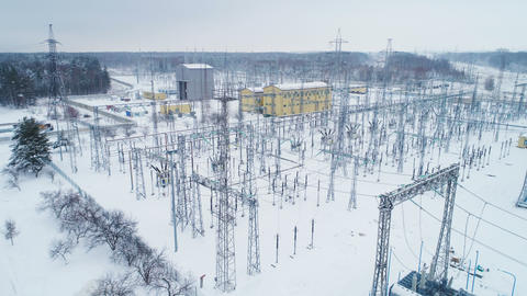 constructions and supports with electrical wires at distribution substation Footage