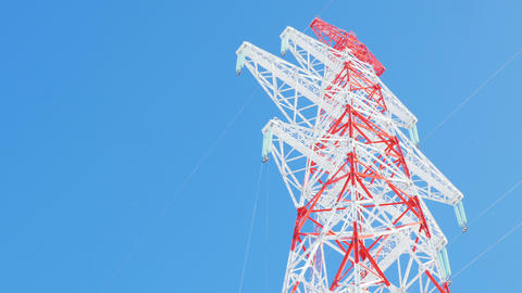 support of electricity transmission line under clear sky GIF