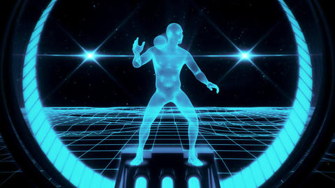 3D Ice Blue Wireframe Man in Cyberspace VJ Loop Motion Background Animation