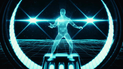 3D Blue Wireframe Man in Cyberspace VJ Loop Motion Background Animation