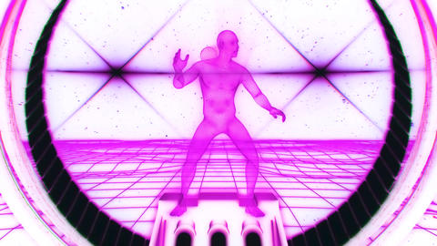 3D Fuchsia Wireframe Man in Cyberspace VJ Loop Motion Background V2 Animation