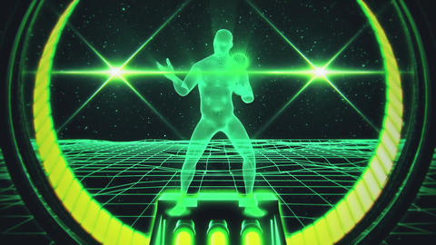 3D Green Water Wireframe Man in Cyberspace VJ Loop Motion Background Animation