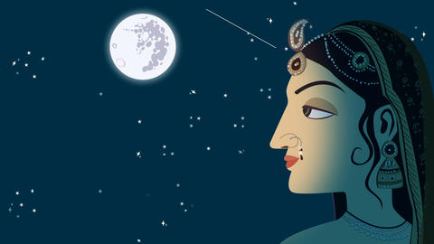 Traditional Indian Hindu Woman on a Full Moon Night Footage