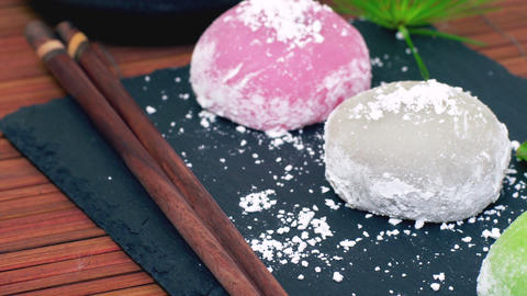 Traditional Japanese Dessert Daifuku Mochi Footage