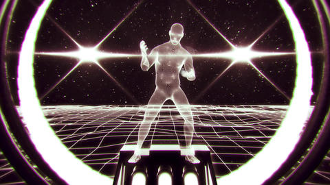 3D White Wireframe Man in Cyberspace VJ Loop Motion Background V2 Animation