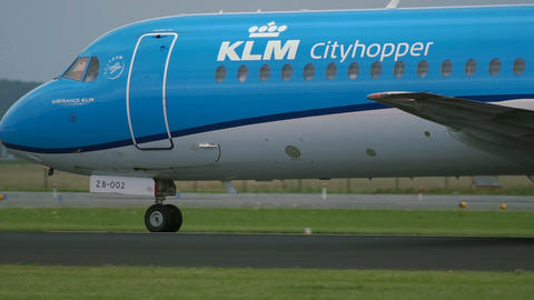 Fokker F70 of KLM Airlines accelerates Footage