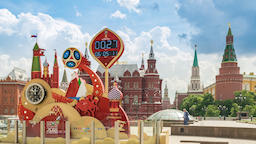 Timelapse at Moscow Red Square with world cup 2018 countdown clock, Moscow ビデオ