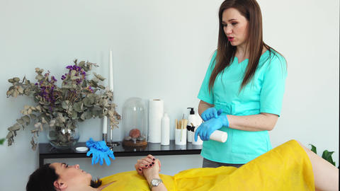 The girl is a master of hair removal with the help of shugaring advises the Live Action