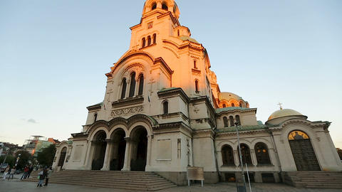 Alexander Nevsky Cathedral Church in Sofia Bulgaria, place of interest, landmark Live Action