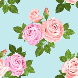 Pale pink and beige roses on the blue seamless pattern Vector