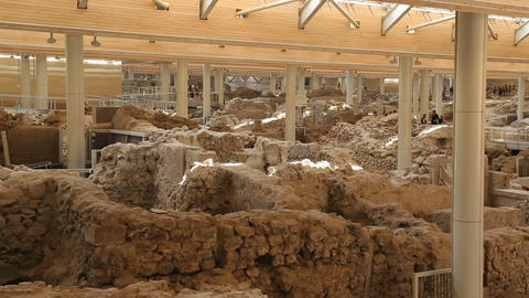Ancient houses excavated from volcanic ash in Akrotiri settlement on Santorini Footage