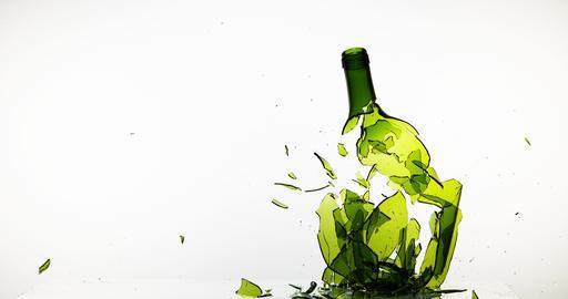Bottle of White Wine Breaking against White Background, Slow motion 4K Footage