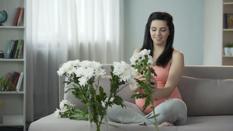 Lovely pregnant girl decorating house with nice flowers, aesthetic enjoyment Footage