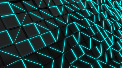 Wall of black rectangle tiles with blue glowing elements Animation