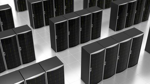 Rows of server racks in cloud datacenter, loop Animation