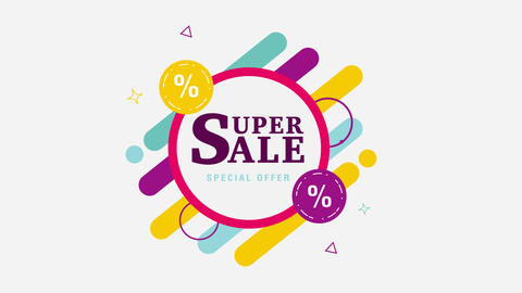 Geometric super sale motion graphic template. Alpha channel Animation