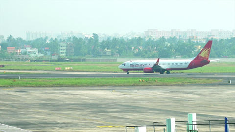 Aeroplane passing at Kolkata airport Footage