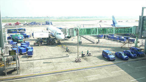 Aeroplane standing at Kolkata airport Footage