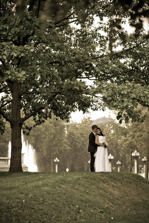 The bride and groom, hugging stand near the tree under a white umbrella Fotografía