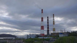 View of the thermal power plant with smoking pipeline piping GIF