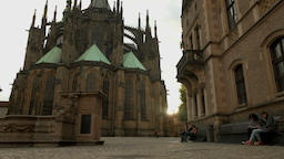 tilt shot to setting sun St Vitus Cathedral Footage
