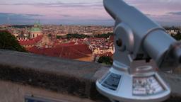 tilt to reveal Prague Skyline at dusk Footage