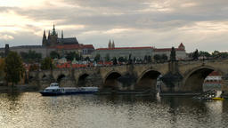 Slow pan across Charles Bridge from Prague Castle Footage