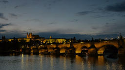 Blue hour clip of Charles Bridge and Prague Castle Footage