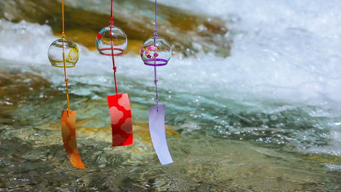 Japanese wind chimes and mountain river Footage